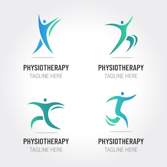 Пакет плоских шаблонов логотипа физиотерапии