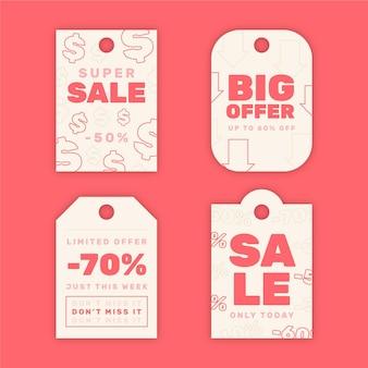 평평한 판매 태그 팩