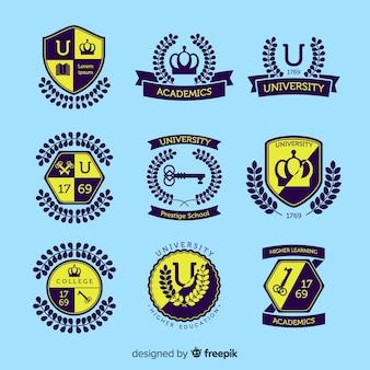 平らな大学のロゴのパック