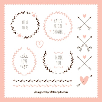 Pack of floral frames and ornaments for bridal shower