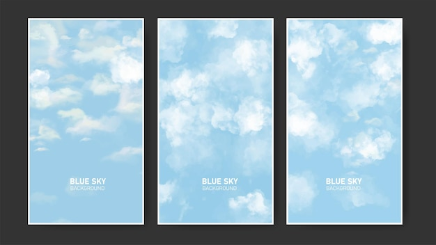 Пакет листовок с реалистичным фоном голубого неба и облаков