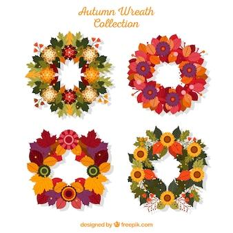 フラットデザインの4つの秋の花輪のパック