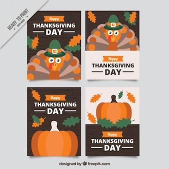 感謝祭の日のための4つの素晴らしいカードのパック