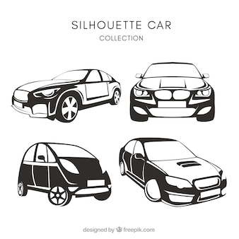 Pack of four car silhouettes