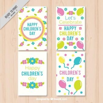 花や風船で4枚のカード子供の日のパック