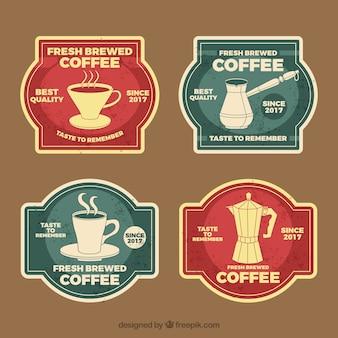 빈티지 스타일의 4 개의 커피 배지 팩