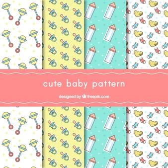 네 귀여운 아기 패턴 팩