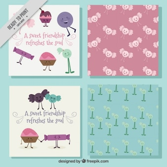 4かわいい友情グリーティングカードのパック