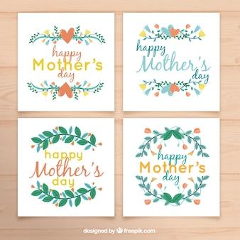 母の日のための4つの装飾的な花のカードのパック
