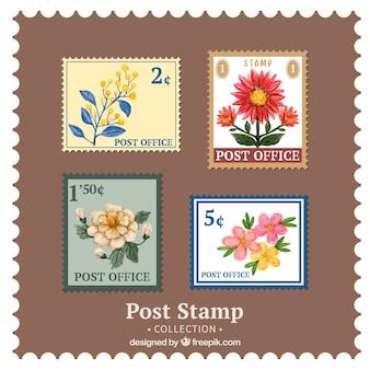 4 개의 장식 빈티지 꽃 우표의 팩