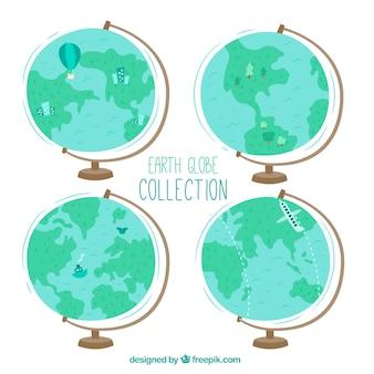 装飾的な要素を持つ4つの地球の球のパック
