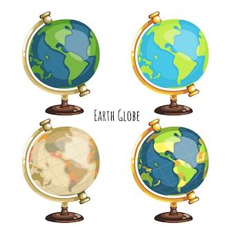 スタイルの異なる4つの地球儀のパック