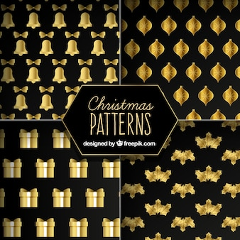 Pack of four elegant christmas patterns