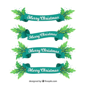 Pack of four green christmas ribbons