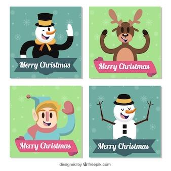 クリスマス文字で4グリーティングカードのパック