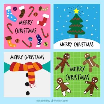 Пакет из четырех рисованных рождественских открыток