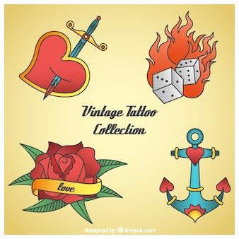 Пакет из четырех рисованной цветные татуировки