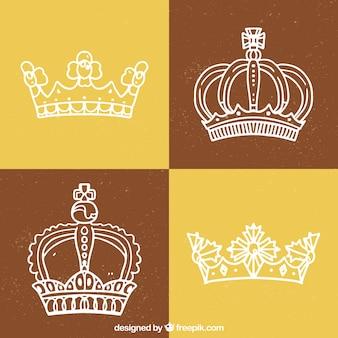 4つの手描きのクラウンのパック