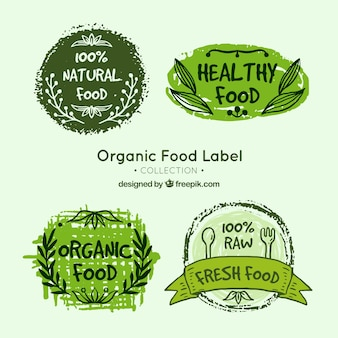Pack of four hand-drawn organic food labels