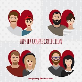 Pack of four hipster couples with heart background