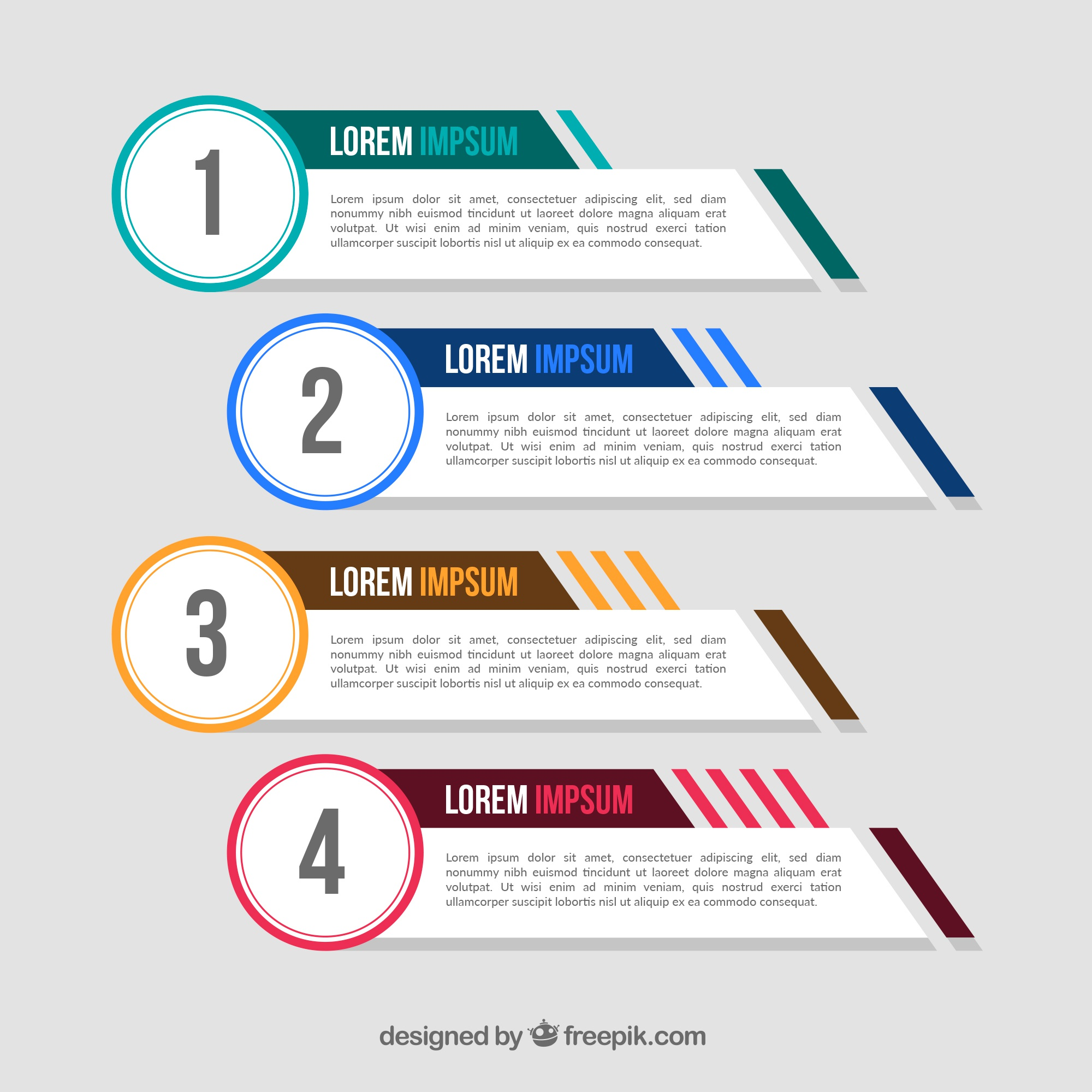 Pack of four infographic banners with color elements
