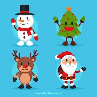 4人の素敵なクリスマスキャラクターのパック