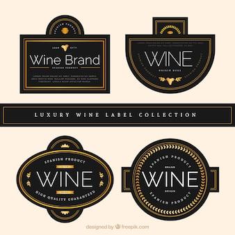 4高級ワインのラベルのパック