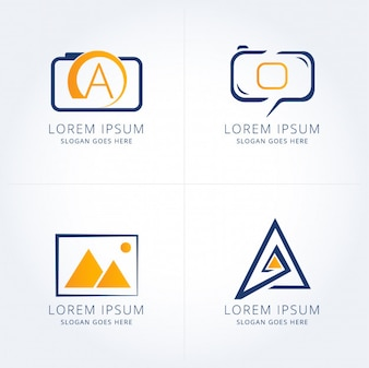 Pack of four modern photography logotypes