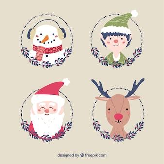 Пакет из четырех симпатичных рисованных рождественских персонажей