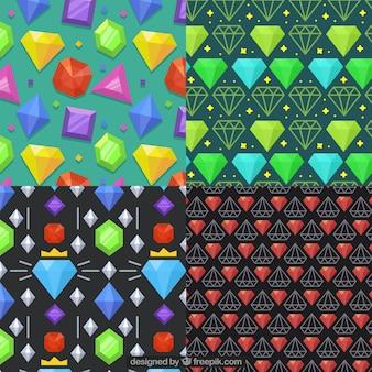 色の宝石と4つのパターンのパック