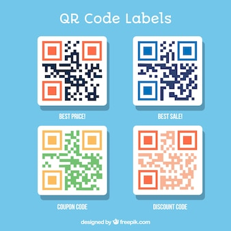 Qr code vectors photos and psd files free download pack of four qr code labels fandeluxe Gallery