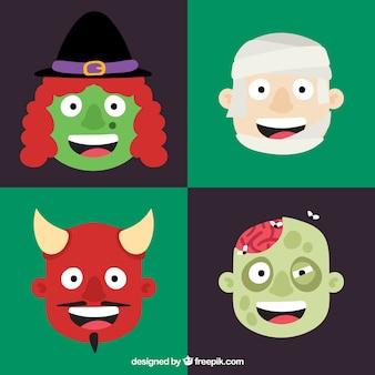 Пакет из четырех ужасающих символов хэллоуина