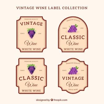 レトロスタイルの4つのワインステッカーのパック