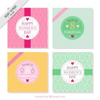 4人の女性の日のグリーティングカードのパック