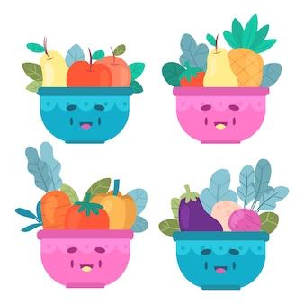 Упаковка фруктов и салатницы