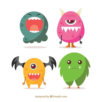 Pack of funny halloween monsters in flat design
