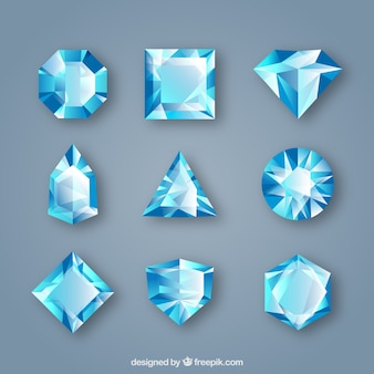Pack of gems in blue tones