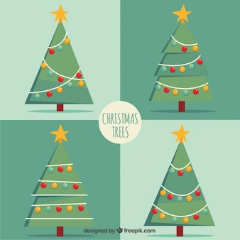 Pack of geometric christmas trees