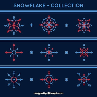 Pack of geometric snowflakes in two colors