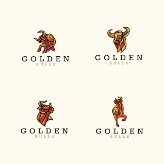 Стая золотых логотипов быков