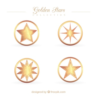 Pack of golden stars in a circle