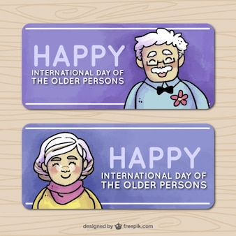 노인의 날을위한 훌륭한 배너 팩