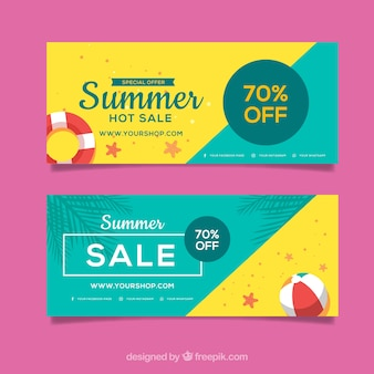 Pack of green and yellow summer sale banners