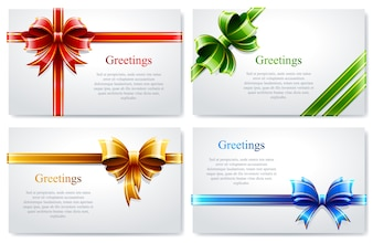 Pack of greeting card with colored bows