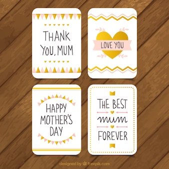 ヴィンテージ母の日デザインのグリーティングカードのパック