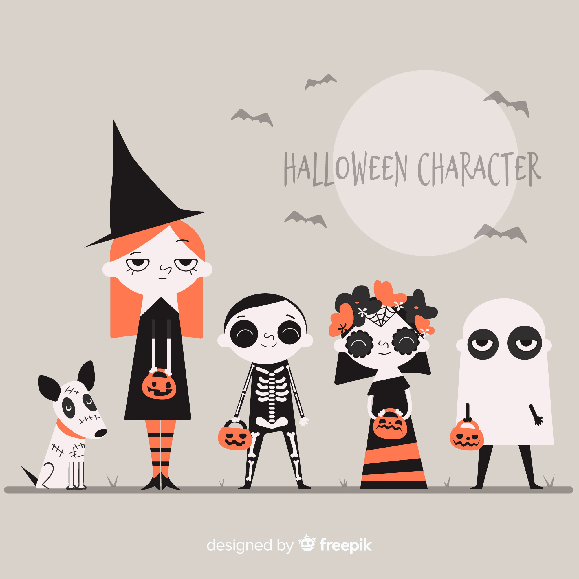Pack of halloween characters