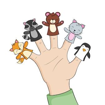 손으로 그린 사랑스러운 손가락 인형 팩