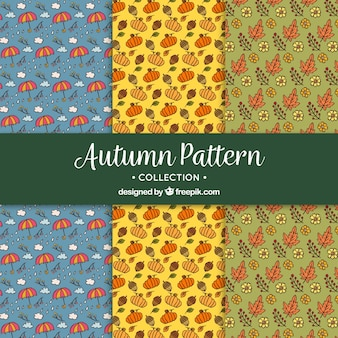 Pack of hand drawn autumnal patterns
