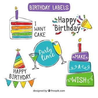 Пакет нарисованных на день рождения цветных наклеек
