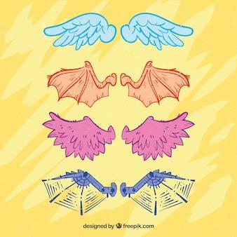 Пакет рисованных символов крыльев